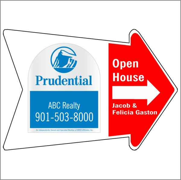 18x24 Arrow Shaped, 2-color OPEN HOUSE/FOR SALE Directional Panel