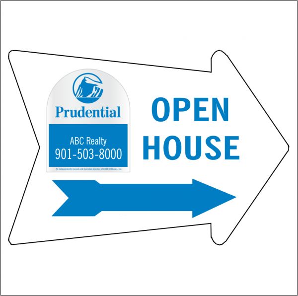 18x24 Arrow Shaped, 1-color OPEN HOUSE/FOR SALE Directional Panel