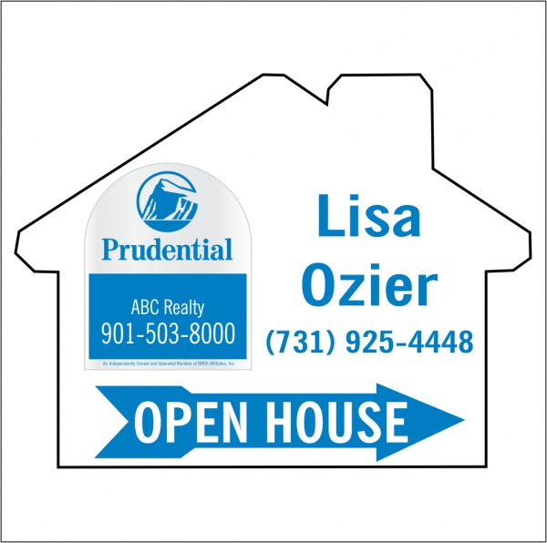 18x24 House Shaped, 1-color OPEN HOUSE/FOR SALE Directional Panel