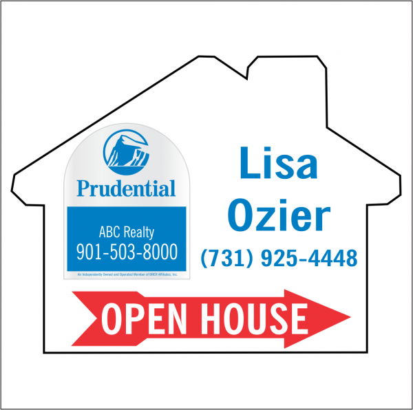 18x24 House Shaped, 2-color OPEN HOUSE/FOR SALE Directional Panel