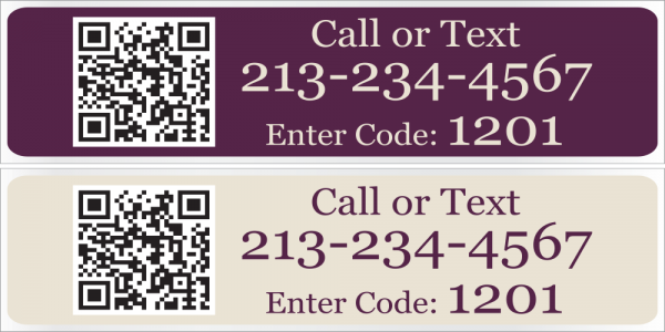 6x24 Cabernet/Cream Text Riders with QR Code